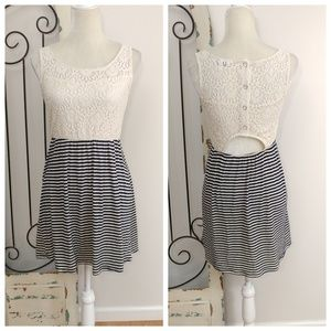 Speechless lace and navy striped dress medium